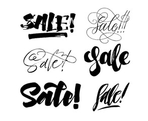 Collection of sale word. Lettering inscriptions. Handwriting calligraphy collection. Vector ink illustration. Eps 8, 10.