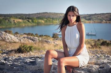 summer sea boat girl