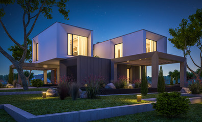 3d rendering of modern house in the garden at night