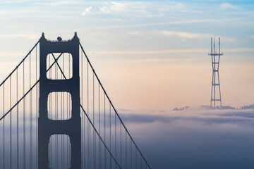 foggy San Francisco morning at golden gate bridge