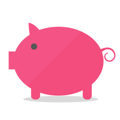 Pink cartoon pig in flat style isolated on white background