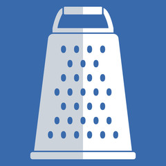 Simple, flat cheese grater illustration. White, isolated on blue