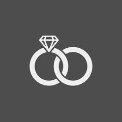 Wedding ring flat vector icon. Diamod flat vector icon