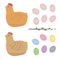 Easter vector set with with chicken eggs with monophonic multicolored and willow leaves isolated on white background drawings
