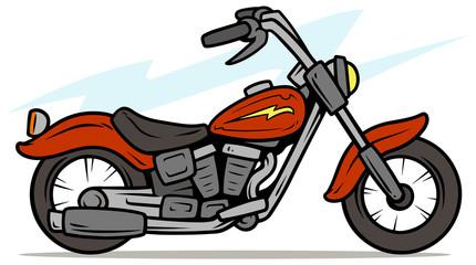 Cartoon retro red motorbike