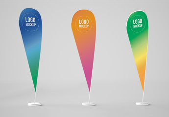 3 Advertising Banner Flags Mockup