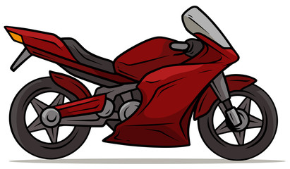 Cartoon sport modern red motorbike