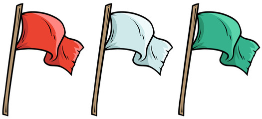 Cartoon colored waved flags on wooden stick