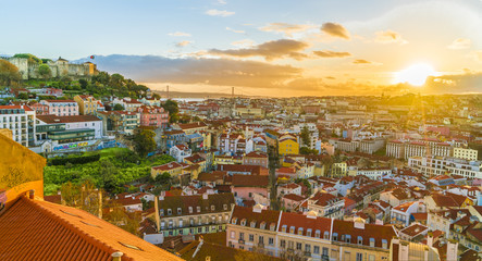 Wall Mural - Panoramic view of Lisbon at sunset,  Portugal