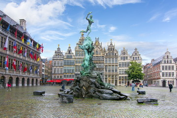 Brabo fountain on market square, center of Antwerp, Belgium