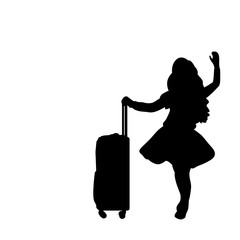 Silhouette girl standing with suitcase