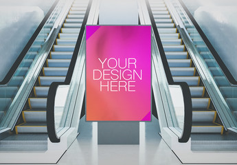 Advertising Billboard Mockup with Escalators