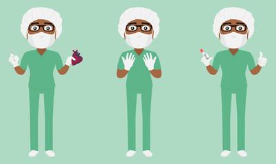Scrub Suit Surgeon Set (Dark skin) v1a