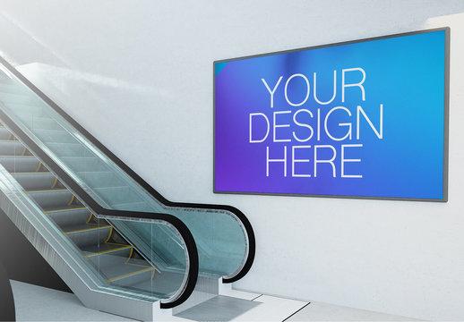 Horizontal Advertising Billboard on Wall with Escalator