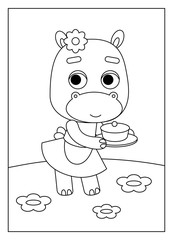 Coloring book, Hippo