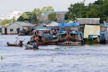 Life on the river in the Mekong Delta near the city of Chau Doc in Vietnam