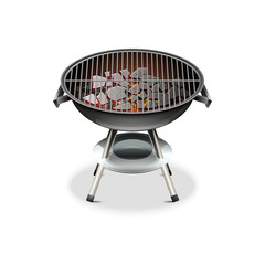Vector realistic barbecue grill isolated on white background