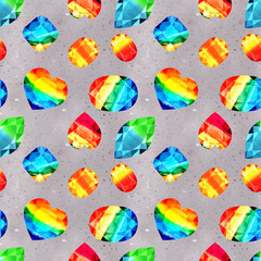 Watercolor pattern with rainbow gems