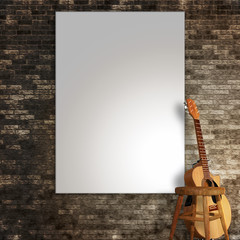 3d render of a blank canvas on wall with a guitar and stool