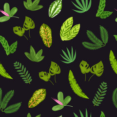 Seamless tropical pattern with palm leaves for package design or wallpaper. Vector illustration