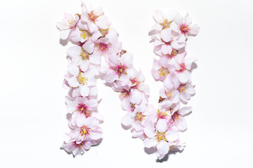 Letter of the English alphabet from flowers