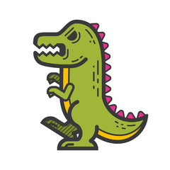 Graphic dinosaur. Vector clip art in flat simple style