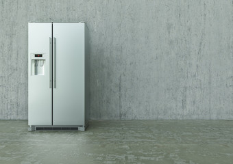 Modern Stainless Steel Refrigerator on a concrete wall and floor - 3D Rendering
