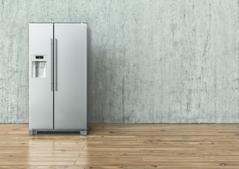Modern Stainless Steel Refrigerator on a concrete wall and on a wooden floor - 3D Rendering