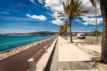 Palma de Mallorca central embankment with bicylce trail