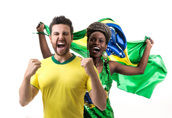 Young Brazilian couple fan celebrating