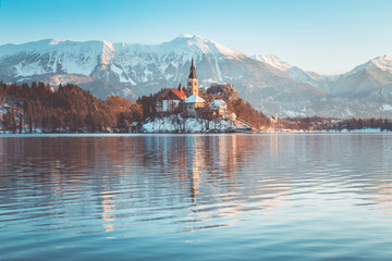 Lake Bled with Bled Island and Castle at sunrise in winter, Slovenia