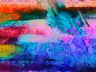 Impression abstract texture art. Design colorful bacground. Oil painting artwork. Modern style graphic wallpaper. Stock high resolution illustration.