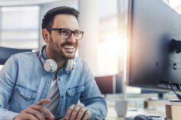 Smiling programmer