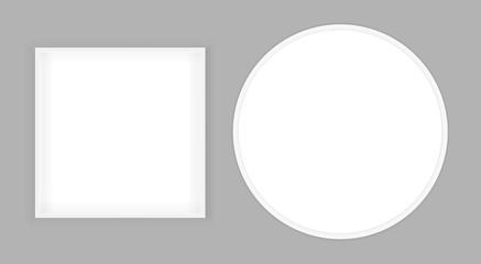 3D picture square and round frame design. Realistic Square Round frame. Design Template for Mock Up. Vector illustration