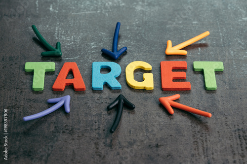 business target plan or goal for success concept multi colorful magnet arrows pointing at wooden