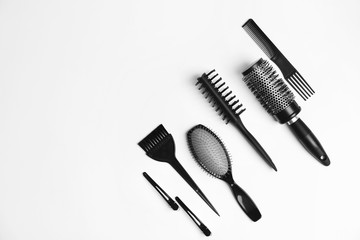 Professional hairdresser tools on white background