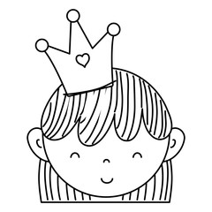 line cute woman head with crown and hairstyle