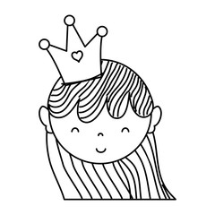 line woman head with crown and hairstyle design