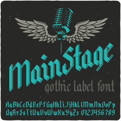 Gothic vintage typeface. Black-letter fracture font with rock music theme illustration.