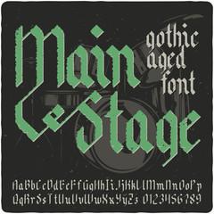 Gothic vintage typeface. Black-letter fracture font with rock music theme illustration.