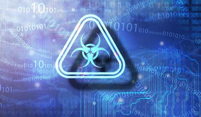 Biohazard sign on Blue background