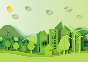 Foto auf Acrylglas Lime grun Ecology and environment conservation creative idea concept design.Eco green urban city and nature landscape background paper art style.Vector illustration.