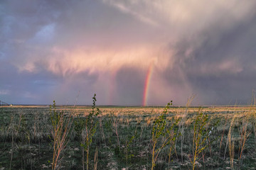 The beautiful rainbow in the grassland, Xinjiang of China