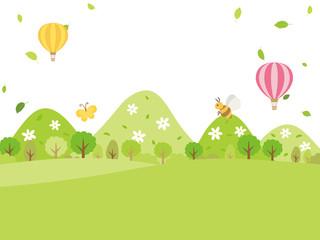 新緑の季節の山々の風景