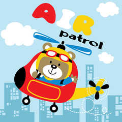 Helicopter cartoon with cute pilot. Eps 10