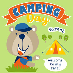 Camping day cartoon with funny animal. Eps 10
