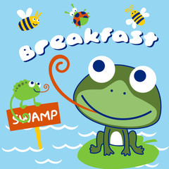 Nice frog and chameleon cartoon with bugs. Eps 10