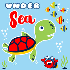 Marine life cartoon with turtle, fishes, hermit crab. Eps 10