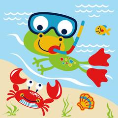 Swimming with animals cartoon. Eps 10