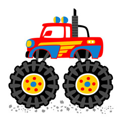 monster truck cartoon. eps 10